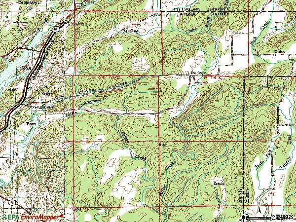 Zip code 74569 topographic map