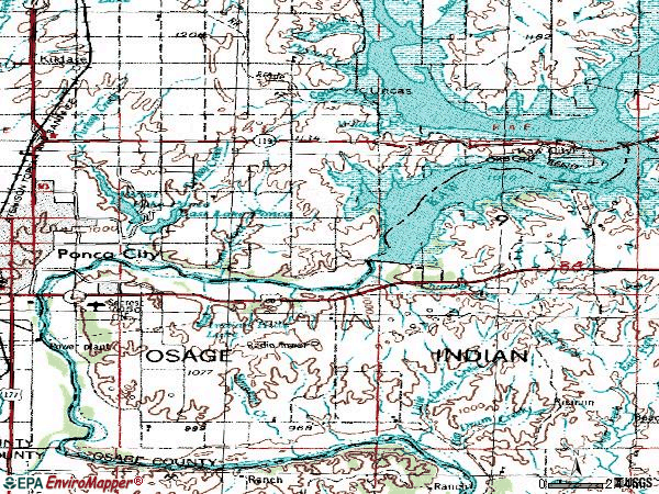 Zip code 74604 topographic map