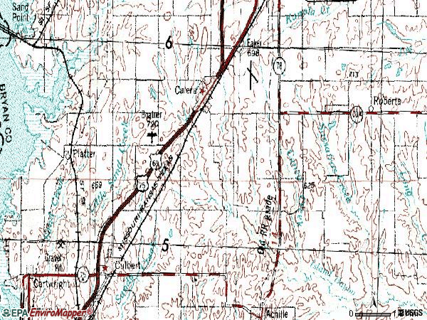 Zip code 74730 topographic map