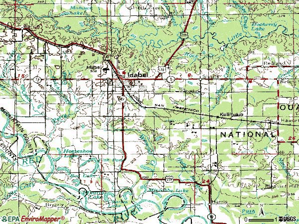 Zip code 74745 topographic map