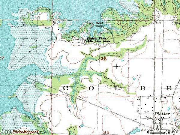 Zip code 74753 topographic map