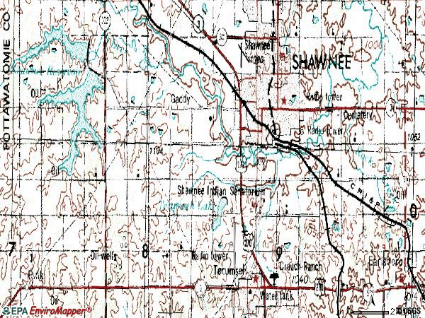 Zip code 74801 topographic map