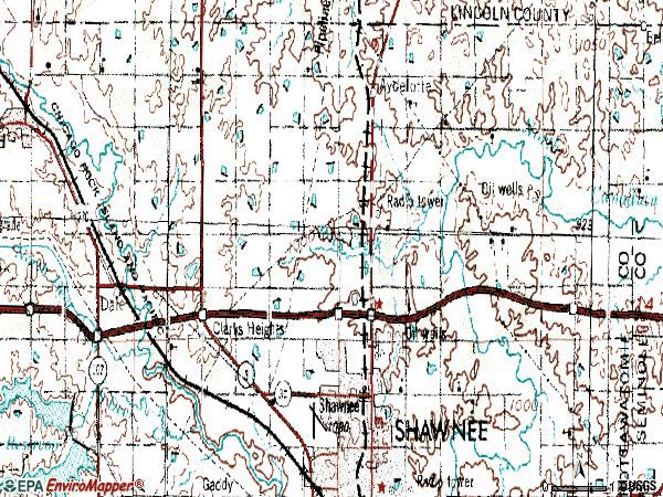 Zip code 74804 topographic map