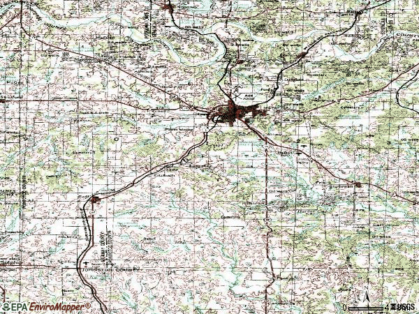 Zip code 74820 topographic map