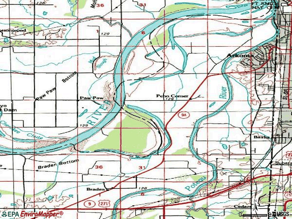 Zip code 74901 topographic map