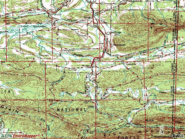 Zip code 74937 topographic map