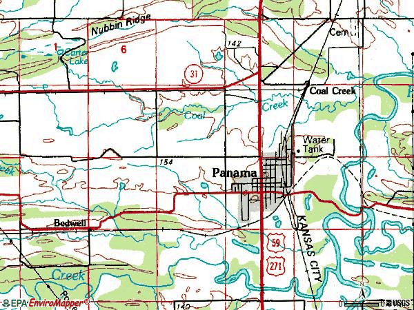 Zip code 74951 topographic map