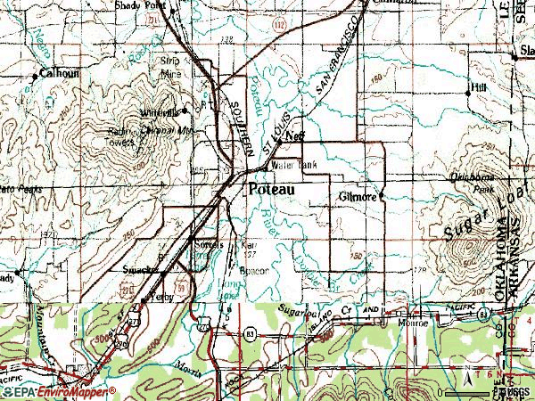 Zip code 74953 topographic map