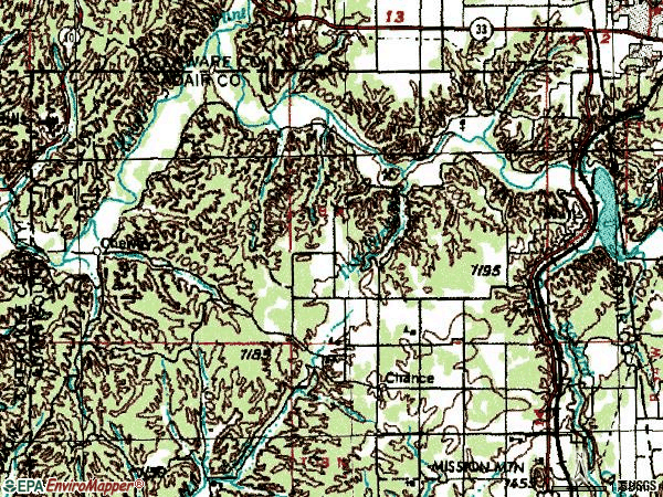 Zip code 74964 topographic map