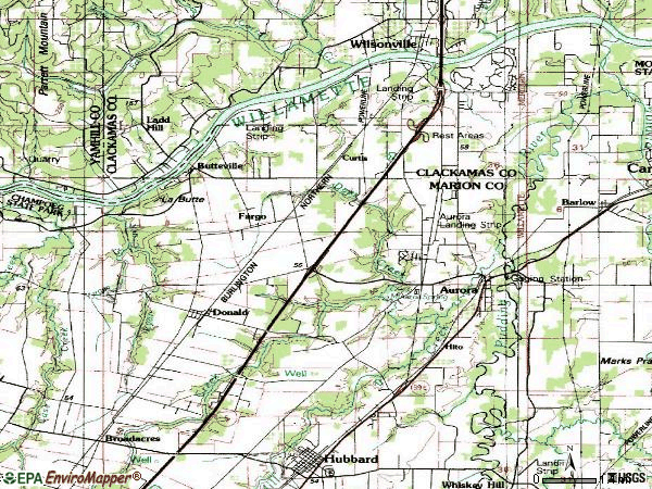 Zip code 97002 topographic map