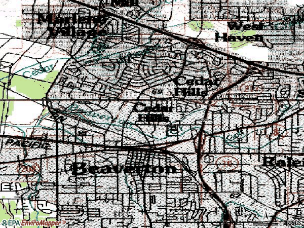 Zip code 97005 topographic map