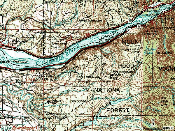 Zip code 97019 topographic map