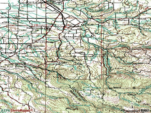 Zip code 97038 topographic map