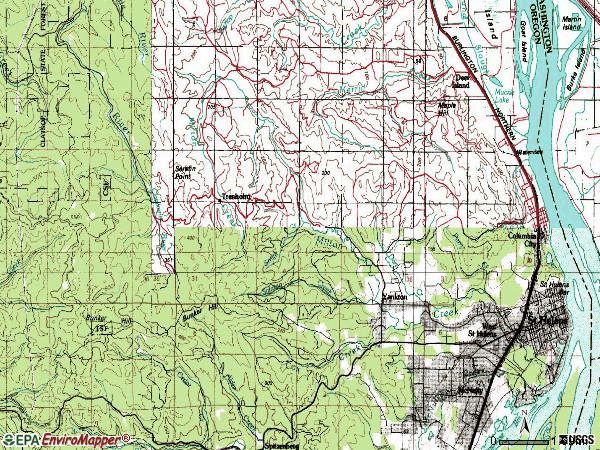 Zip code 97051 topographic map