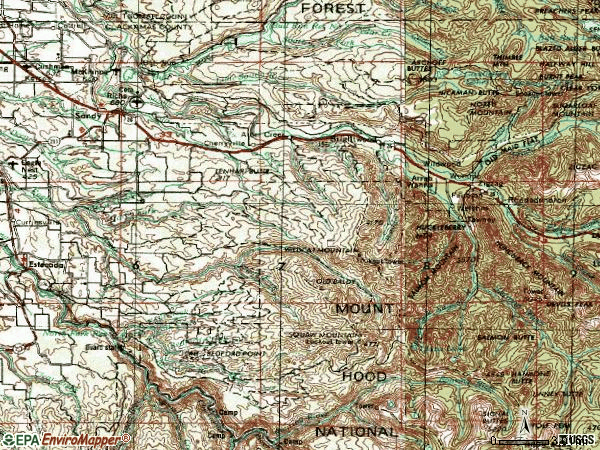 Zip code 97055 topographic map
