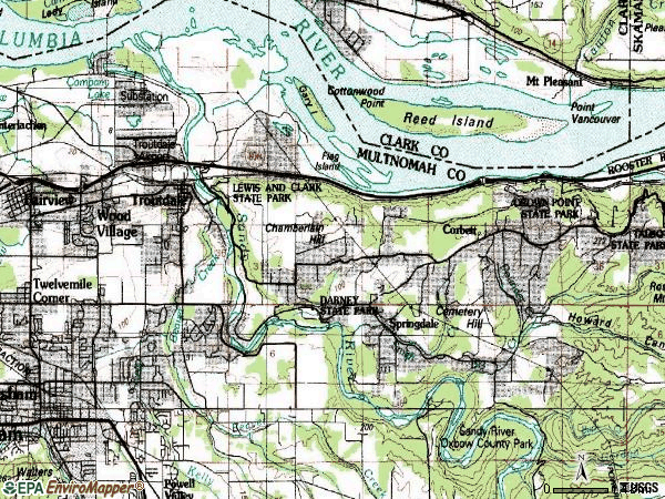 Zip code 97060 topographic map