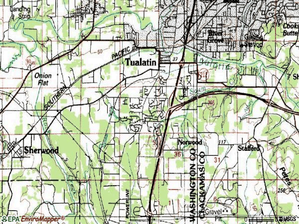 Zip code 97062 topographic map
