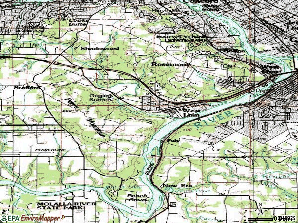 Zip code 97068 topographic map