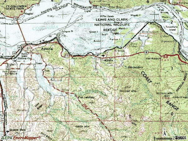Zip code 97103 topographic map
