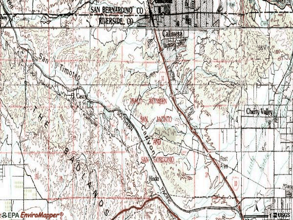 Zip code 92320 topographic map