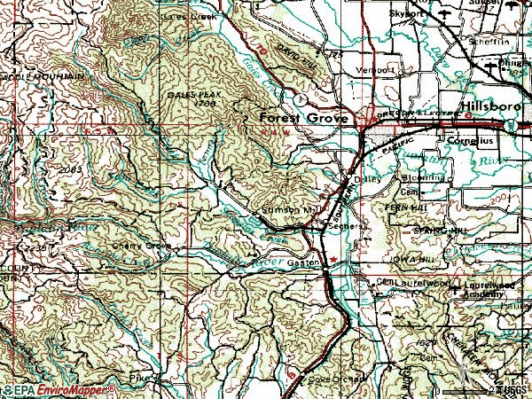 Zip code 97119 topographic map