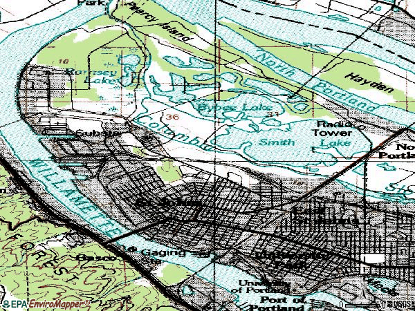 Zip code 97203 topographic map
