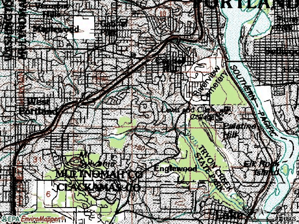 Zip code 97219 topographic map