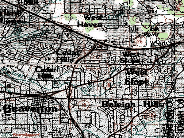 Zip code 97225 topographic map