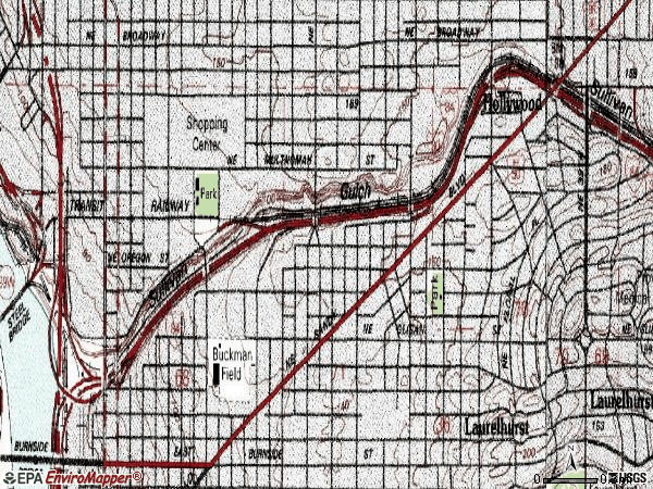 Zip code 97232 topographic map