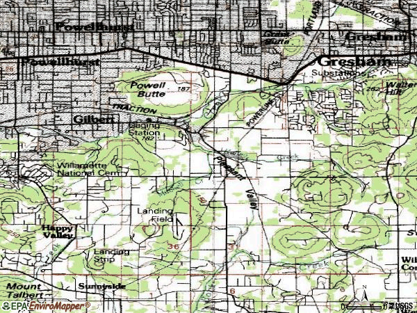 Zip code 97236 topographic map