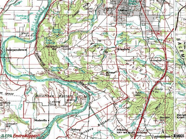 Zip code 97306 topographic map