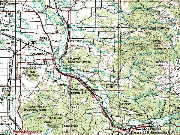 Zip code 97355 topographic map