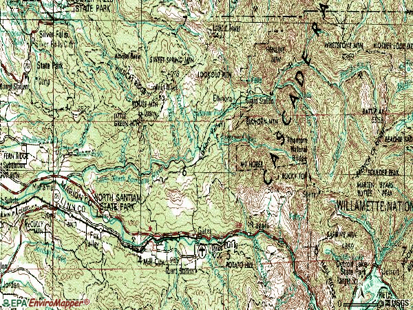Zip code 97358 topographic map