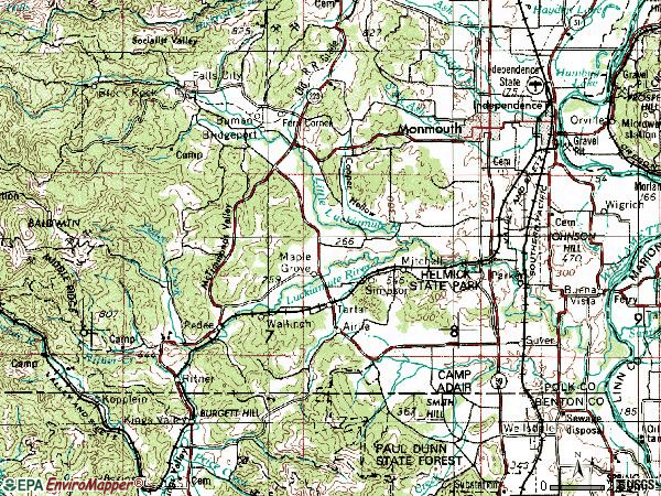 Zip code 97361 topographic map