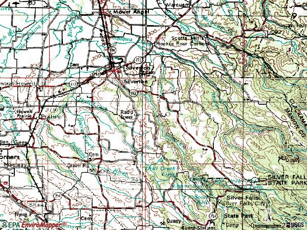 Zip code 97381 topographic map