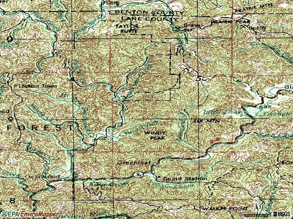Zip code 97430 topographic map