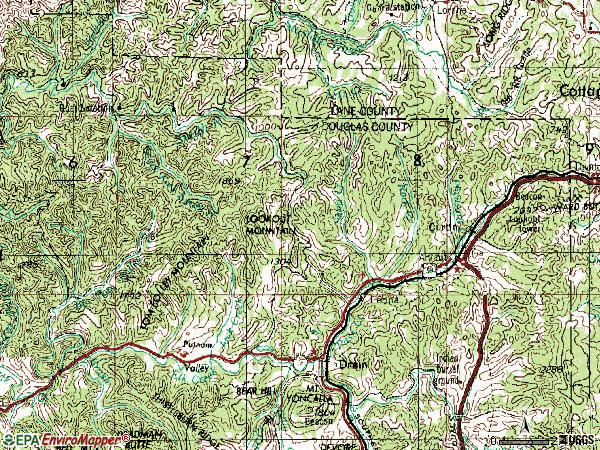 Zip code 97435 topographic map