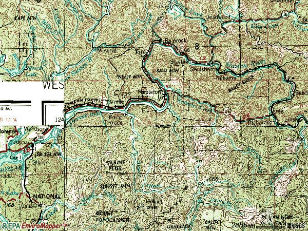 Zip code 97453 topographic map