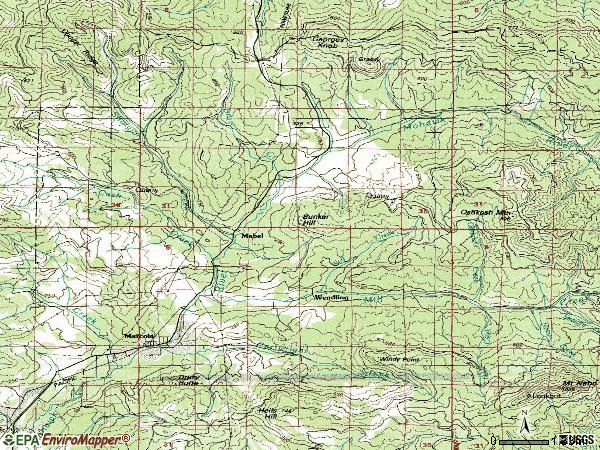 Zip code 97454 topographic map