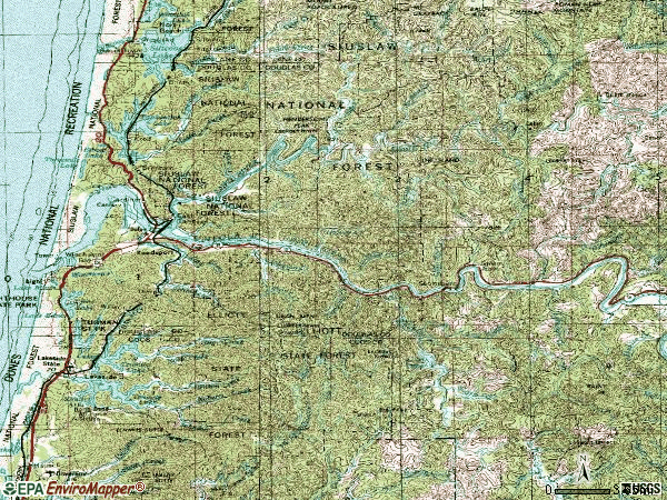 Zip code 97467 topographic map