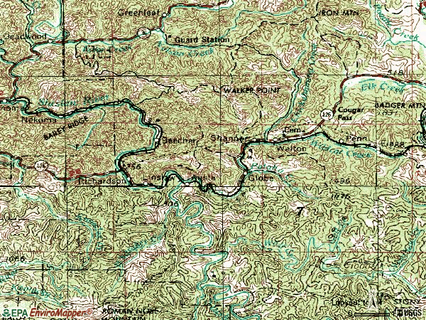 Zip code 97490 topographic map