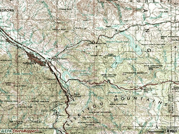 Zip code 97520 topographic map