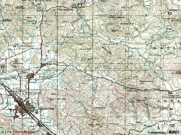 Zip code 97524 topographic map