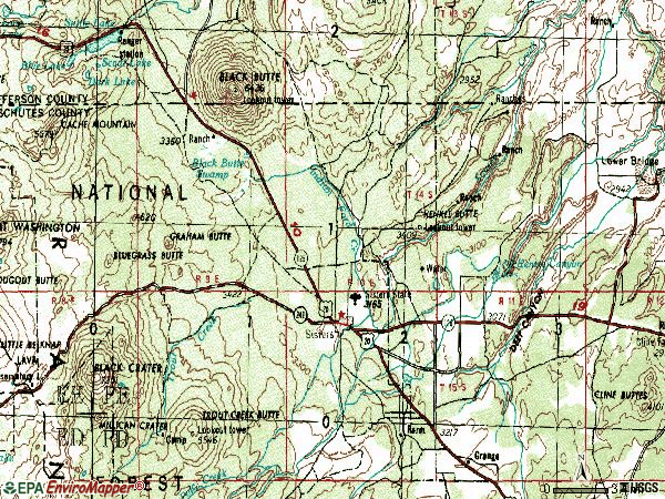 Zip code 97759 topographic map