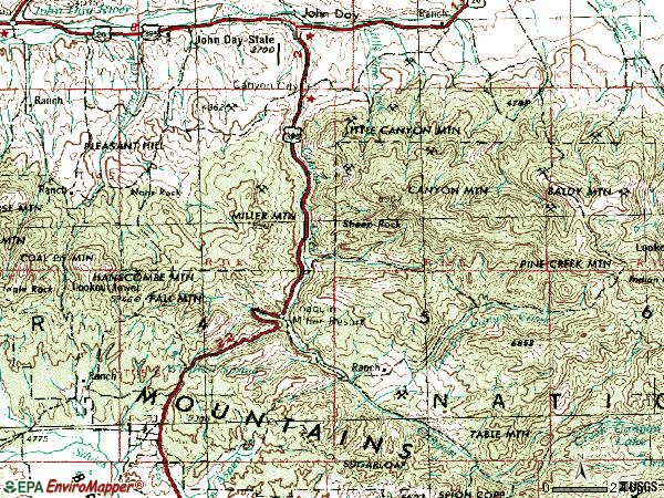 Zip code 97820 topographic map