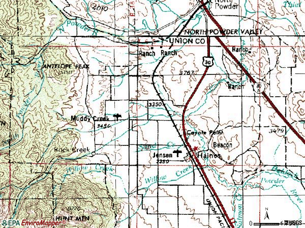 Zip code 97833 topographic map