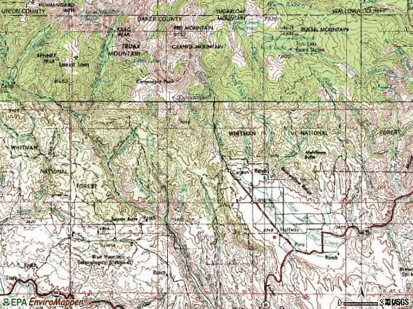 Zip code 97834 topographic map
