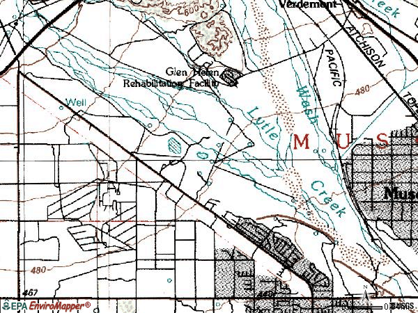 Zip code 92377 topographic map