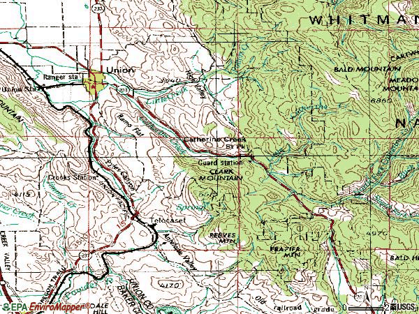 Zip code 97883 topographic map