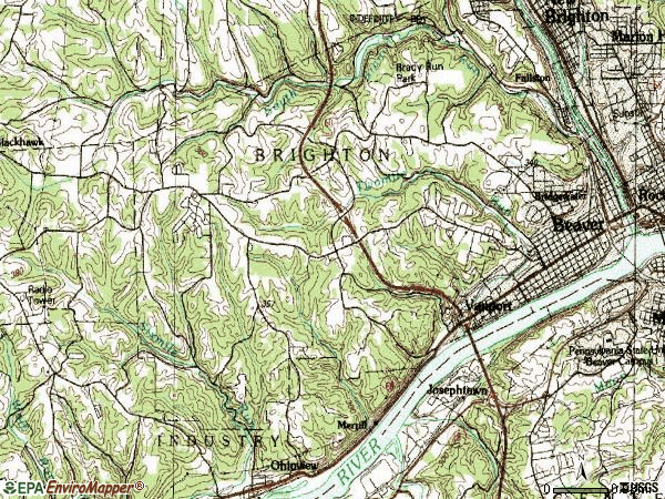 Zip code 15009 topographic map